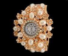 Buy Marysol Jeweled Faux Pearls Gold Floral Women's Cuff Bangle Watch