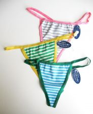 Buy A386 Next Generation Shimmering Lace Touch Stripes Soft Stretch Cotton Thong New
