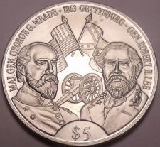 Buy Gem Unc Liberia 2000 5 Dollars~Robert E. Lee And George G. Meade~Gettysburg~Fr/S