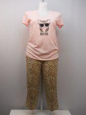 Buy SIZE M Women 2PC Knit PJs SECRET TREASURES Kitty ROAR Short Sleeves Crop Pants