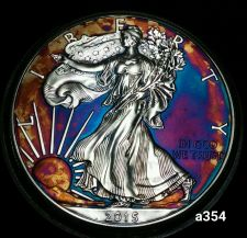 Buy 2015 Rainbow Monster Toned Silver American Eagle Coin 1 ounce uncirculated #a354