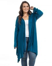 Buy Hot Ginger Teal Long Sleeves Open Neck Knit Wrap Hooded Cardigan Size 1XL-3XL