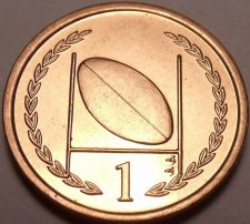 Buy Gem Unc Isle Of Man 1996-AA Penny~Rugby~Football And Goal Post~Free Shipping