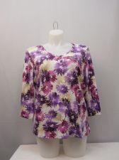 Buy Plus Size 2X Women's Knit Top KAREN SCOTT Floral 3/4 Sleeves V-Neck Pullover