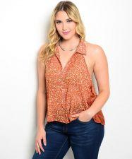 Buy Zenobia Women's Button Shirt Plus Size 1XL-3XL Rust Floral & Lace Plunging Sides