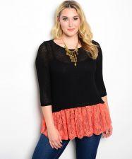 Buy Moa Black 3/4 Sleeves Scoop Neck Orange Lace Bottom Sweater Size 1XL-3XL