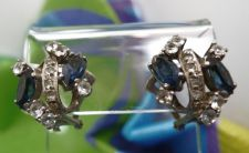 Buy Omega Clip Earrings : Vintage Sterling Silver Sapphire Blue & White Rhinestones