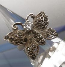 Buy sz 7.5 Butterfly Ring Sterling 925 Silver and Marcasite with CZ Center Stone