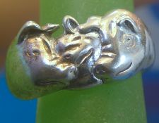 Buy sz 5.5 Shube's Sterling Ring : 3 Little Pigs & the Big Bad Wolf Nursery Rhyme