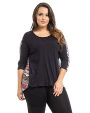 Buy Hot Ginger Black Red Paisley Mixed Scoop Neck 3/4 Sleeve Hi-Lo Top Size XL-3XL