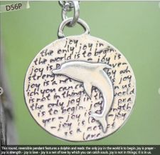 Buy Inspirational Kevin & Anna Charm 950 Silver / DOLPHIN = JOY QUOTE / 16mm