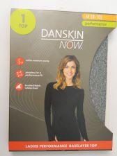 Buy Danskin Now Gray Performance Baselayer Tagless Brushed Crew Neck Top M 8-10