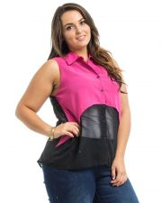 Buy Roman Fuchsia Layover Sleeveless Collar Neck Button Sheer Chiffon Top Size 1X-3X