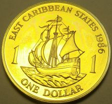 Buy Rare Proof East Caribbean States 1986 Dollar~2,500 Minted~The Golden Hind~Fr/S