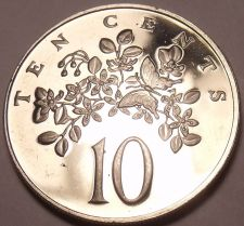 Buy Rare Proof Jamaica 1969 10 Cents~1st Year~Butterfly On Leaf~30,000 Minted~FR/Shi