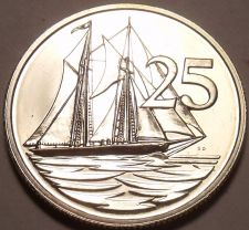 Buy Rare Proof Cayman Islands 1973 25 Cents~Schooner~Only 9,988 Minted~Free Ship