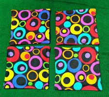 Buy Drink Coasters set of 4 retro mod circles print 100% Cotton fabric Handmade