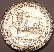 Buy Massive Gem Unc Isle Of Man 1982 Crown~Maritime Heritage~P.S. Mona's Queen II~FS