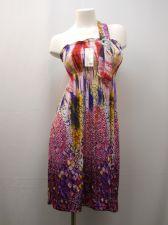 Buy Geometric Smocked Elastic 65% Silk Shoulder Strap w/Buckle Beach Sundress Size M