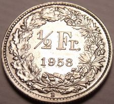 Buy Gem Unc Silver Switzerland 1958-B Half Franc~Helvetia with Lance and Shield~Fr/S