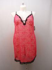 Buy Secret Treasures Women's Floral Lace Chemise Size 3X 22-24 Fuchsia/Black Sheer