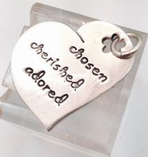 Buy INSPIRATIONAL HEART CHARM: sterling FAR FETCHED CHOSEN CHERISHED ADORED