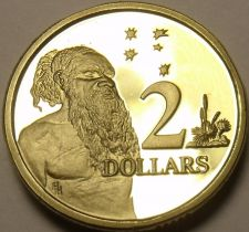 Buy Cameo Proof Australia 1989 2 Dollars~Aboriginal Man ~67,000 Minted~Free Shipping