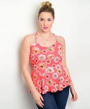 Buy Zenobia Women's Coral Floral Peplum Top Size 1XL-3XL Spaghetti Straps Clubwear