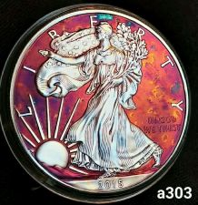 Buy 2015 Rainbow Toned Silver American Eagle 1 ounce fine silver uncirculated #a303