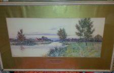 """Buy LISTED ARTIST FREDERICK GORDON FRASER (1859-1895) """"BESIDE THE RIVER OUSE"""" W/C"""