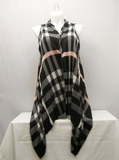 Buy Women's Wrap Scarf Vest Size L COMO VINTAGE Black Plaid Asymmetrical Hem