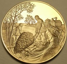Buy Solid Bronze Proof Franklin Mint Medallion~Country Christmas~Dragging a Tree~F/S