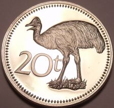 Buy Large Proof Papua New Guinea 1975 20 Toea~Cassowary~1st Year Ever~Free Shipping