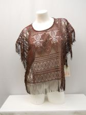 Buy Self Esteem Women's Lace Fringed Kimono Top Size M Sheer Cropped Solid Dark Wine