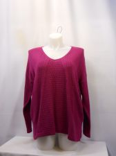 Buy Style&Co Women's Sweater Size XL Solid Pink V-Neck Long Sleeves Medium Knit