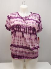 Buy Faded Glory Women's Peasant Top Size 20 Tie-Dyed Smocked Elastic Short Sleeve