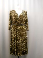 Buy Plus Size 3X Dress Shelby & Palmer Animal 3/4 Sleeves Surplice Neck Belt A-Line