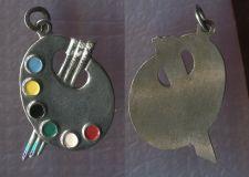 Buy Vintage Charm : JMS Sterling & Enamel Artist Enamel Painter Pallet
