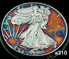 Buy High Grade Rainbow Toned Silver American Eagle 1oz fine silver uncirc. #a310