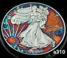 Buy High Grade Rainbow Toned Silver American Eagle 1oz fine silver uncirc. #a310