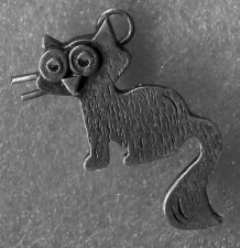Buy WONDERFUL vintage CHARM : ABSTRACT and/or WHIMSICAL CAT / UNMARKED SILVER 28mm