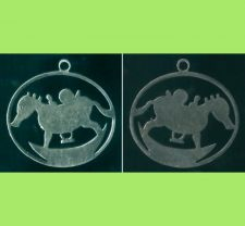 Buy UNUSUAL LOOKING CHILD'S ROCKING SEAHORSE STENCIL CHARM signed JMS
