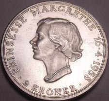 Buy Large Rare Unc Silver Denmark 1958 2 Kroner~Margrethe's 18th Birthday~Free Ship