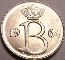 Buy Gem Unc Belgium 1964 25 Centimes~1st Year Ever Minted~Excellent~Free Shipping