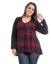Buy Hot Ginger Red Plaid Long Sleeves Hooded V-Neck Pullover Knit Top Size 1XL-3XL