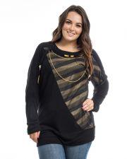 Buy Dila Women's Top Plus Size 1X-3X Black Striped Trim Dolman Sleeves Knit Pullover