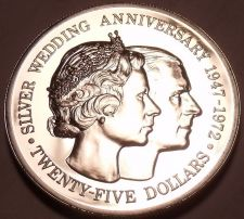 Buy Rare Silver Proof Cayman Islands 1972 $25.00~Elizabeth & Phillips 25th Anniv~F/S