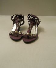 "Buy NYC Essence Purple 3"" Heel, Silver Stud Details Buckle Straps Heels, Size 10 M"