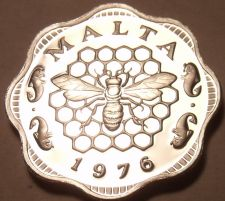 Buy Rare Cameo Proof Malta 1976 3 Mils~Bee and Honeycomb~Only 26,000 Minted~Free Shi