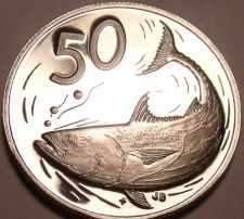 Buy Rare Proof Cook Islands 1975 50 Cents~Only 21,000 Minted~Bonito Fish~Free Ship